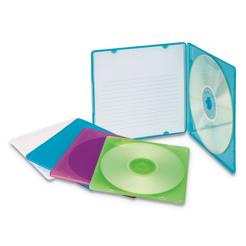 Slim Cd Case, Assorted Colors, 10-pack