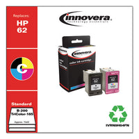 Remanufactured Black-tricolor Ink, Replacement For Hp 62 (n9h64fn), 200-165 Page-yield