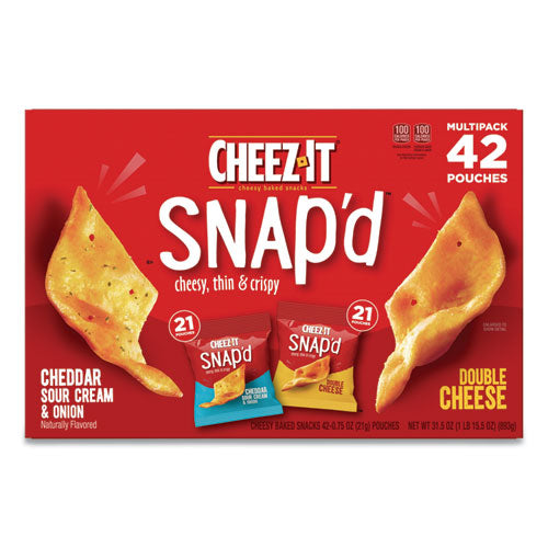 Snap'd Crackers Variety Pack, Cheddar Sour Cream And Onion; Double Cheese, 0.75 Oz Bag, 42-carton