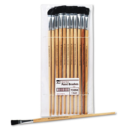 Long Handle Easel Brush, Size 12, Natural Bristle, Flat, 12-pack