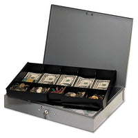 Extra-wide Steel Cash Box W-10 Compartments, Key Lock, Gray