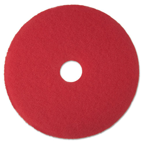 "Low-speed Buffer Floor Pads 5100, 15"" Diameter, Red, 5-carton"