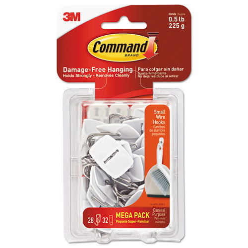 General Purpose Hooks, Small, 0.5 Lb Cap, White, 28 Hooks And 32 Strips-pack