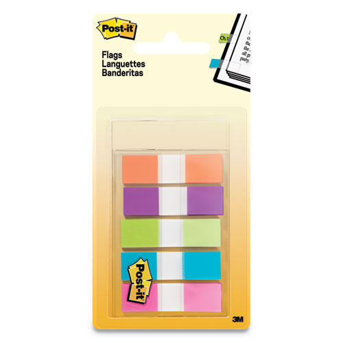 Page Flags In Portable Dispenser, Assorted Brights, 5 Dispensers, 20 Flags-color