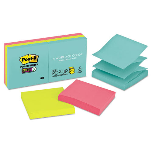 Pop-up 3 X 3 Note Refill, Miami, 90-pad, 6 Pads-pack