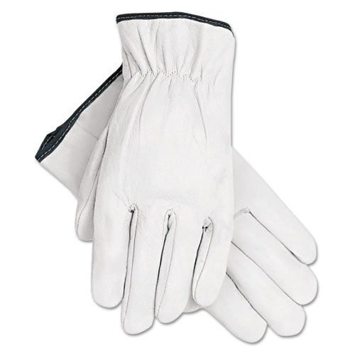 Grain Goatskin Driver Gloves, White, X-large, 12 Pairs