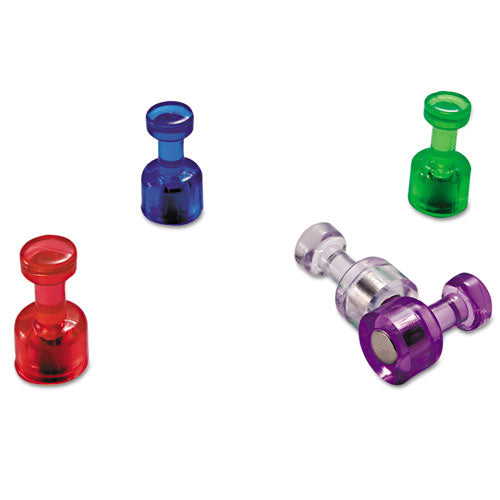 "Push Pin Magnets, Assorted Translucent, 3-4"" X 3-8"", 10 Per Pack"