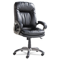 Executive Swivel-tilt Leather High-back Chair, Supports Up To 250 Lbs., Black Seat-black Back, Black Base
