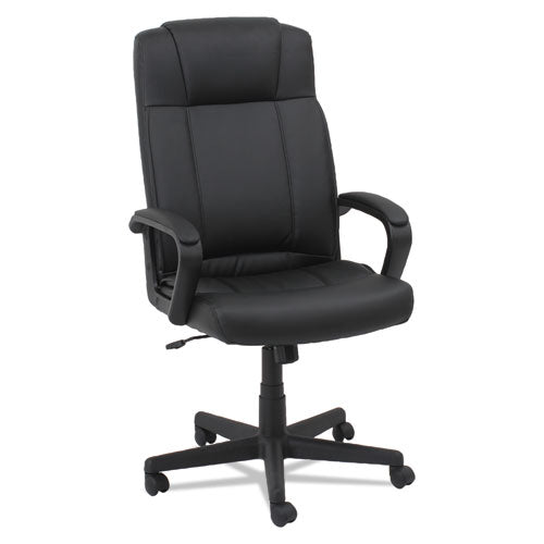 Leather High-back Chair, Supports Up To 250 Lbs., Black Seat-black Back, Black Base