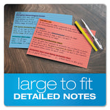 Ruled Index Cards, 5 X 8, Blue-violet-canary-green-cherry, 100-pack