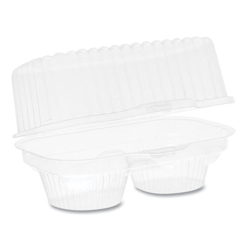 Clearview Bakery Cupcake Container, 2-compartment, 6.75 X 4 X 4, Clear, 100-carton