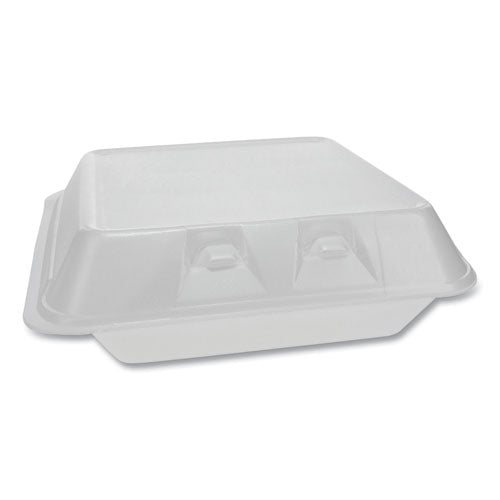 Smartlock Foam Hinged Containers, Large, 9 X 9.25 X 3.25, 3-compartment, White, 150-carton