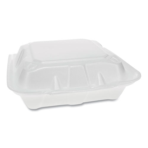 Foam Hinged Lid Containers, Dual Tab Lock Economy, 8.42 X 8.15 X 3, 3-compartment, White, 150-carton