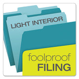 Colored File Folders, 1-3-cut Tabs, Letter Size, Teal-light Teal, 100-box