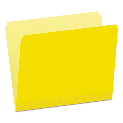 Colored File Folders, Straight Tab, Letter Size, Yellowith Light Yellow, 100-box