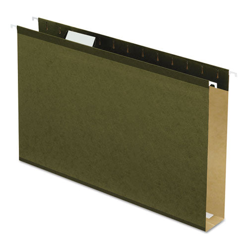 Extra Capacity Reinforced Hanging File Folders With Box Bottom, Legal Size, 1-5-cut Tab, Standard Green, 25-box