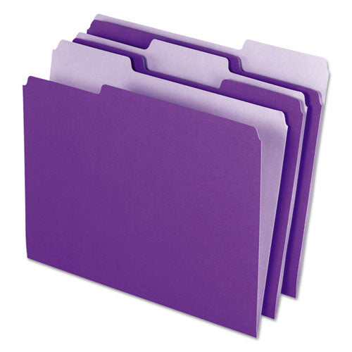 Interior File Folders, 1-3-cut Tabs, Letter Size, Violet, 100-box
