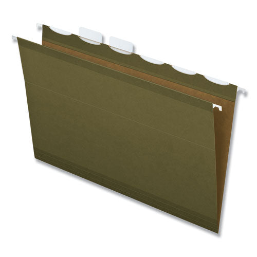 Ready-tab Reinforced Hanging File Folders, Legal Size, 1-6-cut Tab, Standard Green, 25-box
