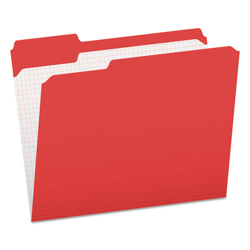 Double-ply Reinforced Top Tab Colored File Folders, 1-3-cut Tabs, Letter Size, Red, 100-box