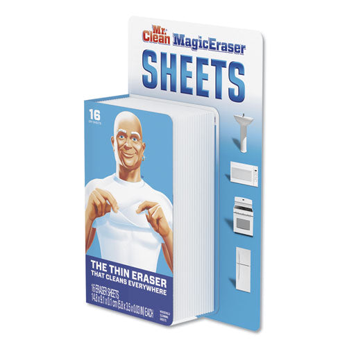 "Magic Eraser Sheets, 3.5"" X 5.8"" X 0.03"", White, 16-pack, 8 Pack-carton"
