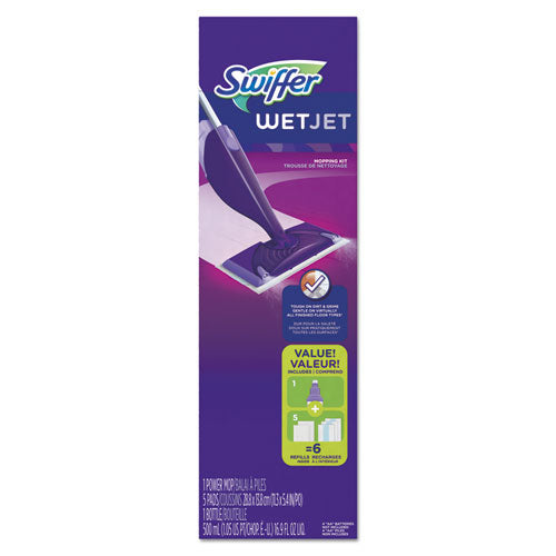 "Wetjet Mop Starter Kit, 46"" Handle, Silver-purple"