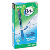 B2p Bottle-2-pen Retractable Ballpoint Pen, 1mm, Red Ink, Translucent Blue Barrel, Dozen