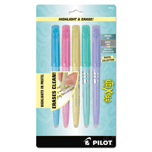 Frixion Light Pastel Collection Erasable Highlighters, Chisel Tip, Assorted Colors, 5-pack