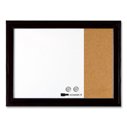 Home Decor Magnetic Combo Dry Erase With Cork Board On Side, 23 X 17, Black Wood Frame