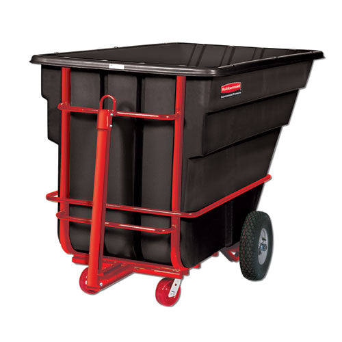 Rotomolded Towable Tilt Truck, Rectangular, Plastic, 1.5 Cu Yd, 2,100-lb Capacity, Black-red