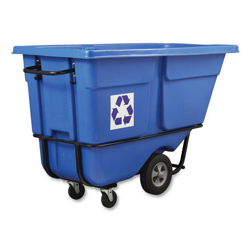 Rotomolded Recycling Tilt Truck, Rectangular, Plastic With Steel Frame, 1 Cu Yd, 1,250 Lb Capacity, Blue