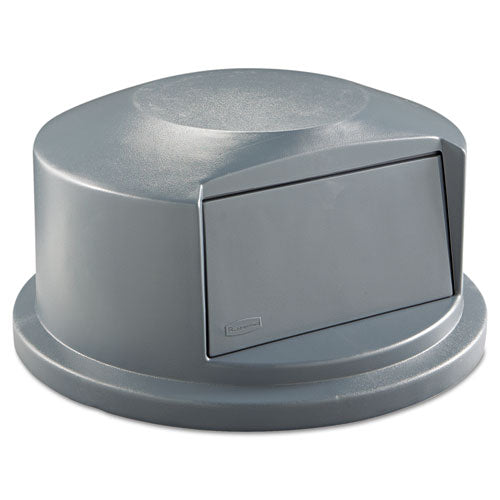 Round Brute Dome Top Receptacle, Push Door For 44 Gal Containers, 24.81w X 12.63h, Gray