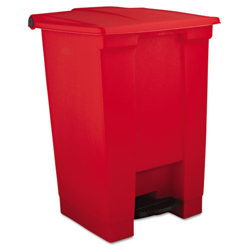 Indoor Utility Step-on Waste Container, Square, Plastic, 12 Gal, Red