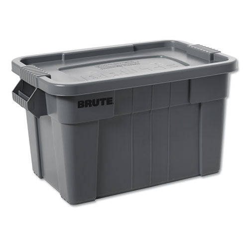 "Brute Tote With Lid, 14 Gal, 27.5"" X 16.75"" X 10.75"", Gray"