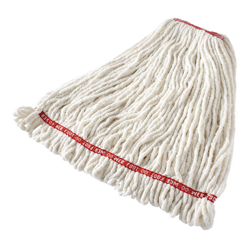 "Web Foot Shrinkless Looped-end Wet Mop Head, Cotton-synthetic, Large, White, 1"" White Headband"