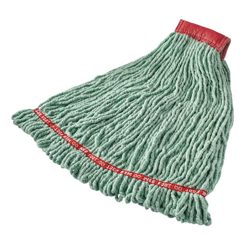 "Web Foot Shrinkless Looped-end Wet Mop Head, Cotton-synthetic, Large, Green, 5"" Red Headband"