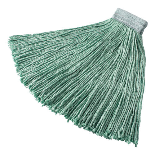 "Non-launderable Cotton-synthetic Cut-end Wet Mop Heads, 24 Oz, Green, 5"" White Headband"