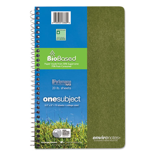 Environotes Biobased Notebook, 1 Subject, Medium-college Rule, Assorted Earthtones Covers, 9.5 X 6, 70 Sheets