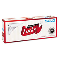 "Heavyweight Plastic Cutlery, Forks, White, 6.41"", 500-carton"