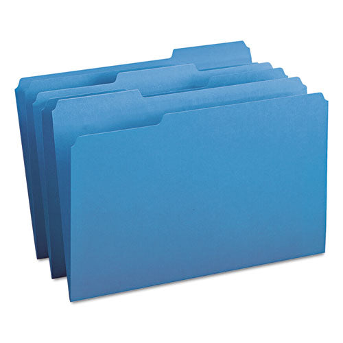 Colored File Folders, 1-3-cut Tabs, Legal Size, Blue, 100-box