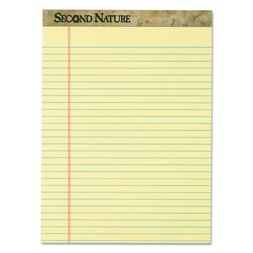 Second Nature Recycled Pads, Wide-legal Rule, 8.5 X 11.75, Canary, 50 Sheets, Dozen