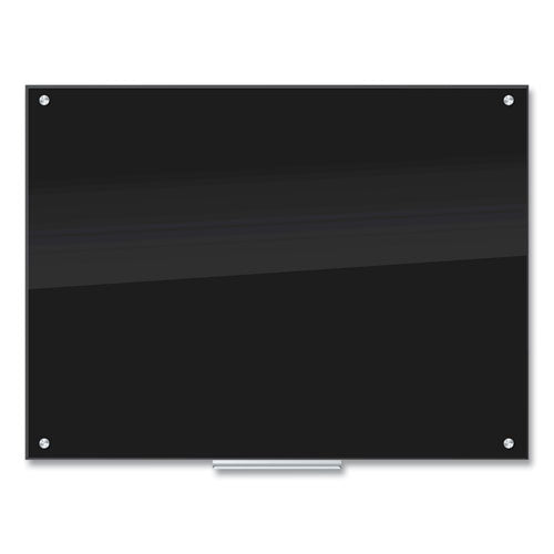 Glass Dry Erase Board, 48 X 36, Black Surface
