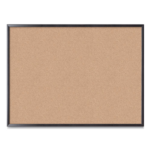 Cork Bulletin Board, 48 X 36, Natural Surface, Black Frame