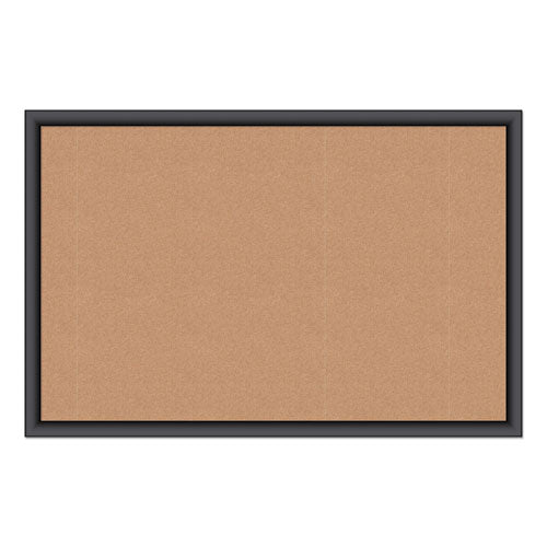Cork Bulletin Board, 36 X 24, Natural Surface, Black Frame