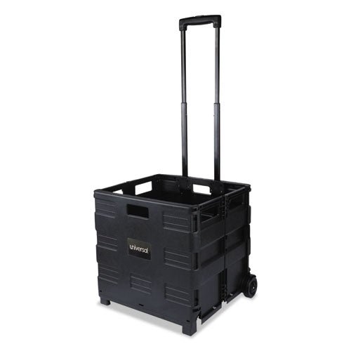 Collapsible Mobile Storage Crate, 18 1-4 X 15 X 18 1-4 To 39 3-8, Black