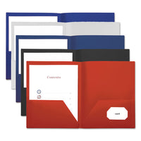 Two-pocket Plastic Folders, 11 X 8 1-2, Red, 10-pack