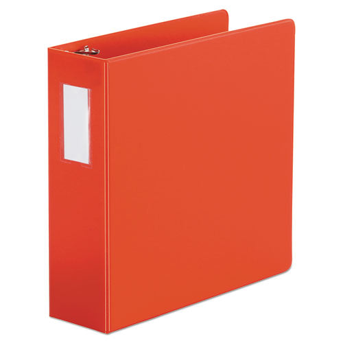 "Deluxe Non-view D-ring Binder With Label Holder, 3 Rings, 3"" Capacity, 11 X 8.5, Red"
