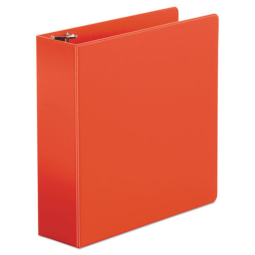 "Economy Non-view Round Ring Binder, 3 Rings, 3"" Capacity, 11 X 8.5, Red"