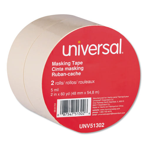 "General-purpose Masking Tape, 3"" Core, 48 Mm X 54.8 M, Beige, 2-pack"