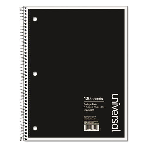 Wirebound Notebook, 3 Subjects, Medium-college Rule, Black Cover, 11 X 8.5, 120 Sheets