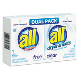 Free Clear He Liquid Laundry Detergent-dryer Sheet Dual Vend Pack, 100-ctn